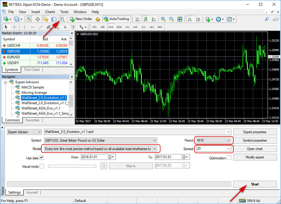 How to backtest WallStreet Forex Robot 2.0 Evolution?